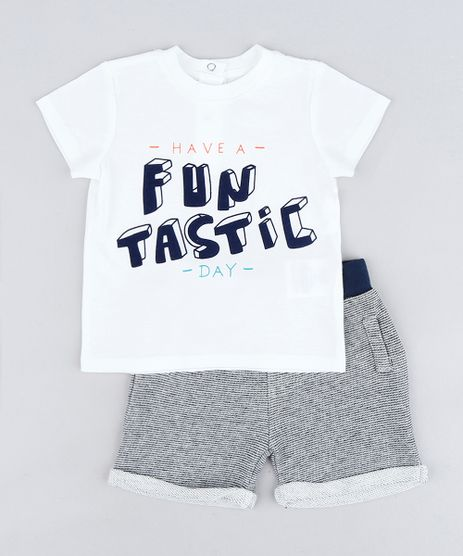 Conjunto-Infantil-de-Camiseta--Funtastic--Manga-Curta-Off-White---Bermuda-Listrada-em-Moletom-Cinza-Mescla-Escuro-9118890-Cinza_Mescla_Escuro_1