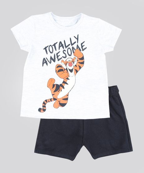 Conjunto-Infantil-de-Camiseta-Tigrao-Manga-Curta-Cinza-Mescla-Claro---Bermuda-em-Moletom-Preta-9293796-Preto_1
