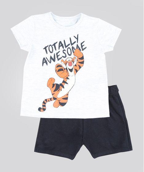 655efe6144dec3 Conjunto Infantil de Camiseta Tigrão Manga Curta Cinza Mescla Claro ...