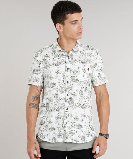 Camisa-Masculina-Estampada-de-Folhagens-com-Bolso-Manga-Curta-em-Linho-Branca-9334905-Branco_1