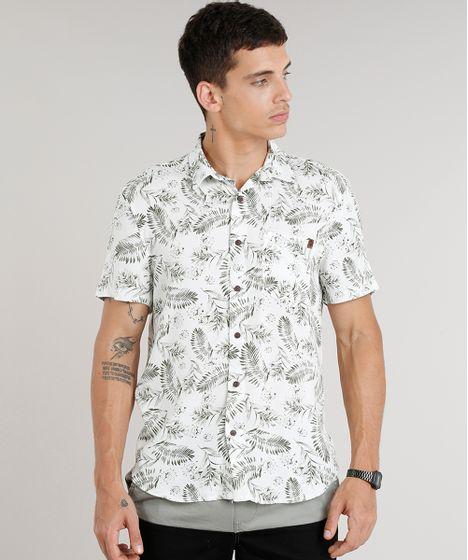 Camisa Masculina Estampada de Folhagens com Bolso Manga Curta em ... 00d0d5ec32a8b