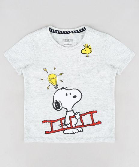 Camiseta-Infantil-Snoopy-com-Bolso-Manga-Curta-Gola-Careca-Cinza-Mescla-Claro-9299822-Cinza_Mescla_Claro_1