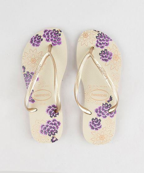 Chinelo-Feminino-Havaianas-com-Estampa-Floral-Bege-9297209-Bege_1