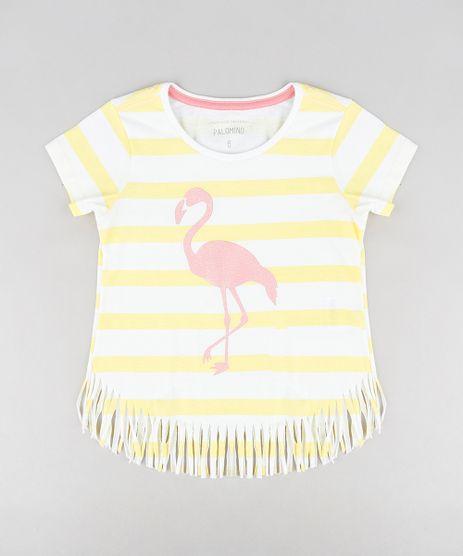 Blusa-Infantil-Listrada-com-Flamingo-e-Franjas-Manga-Curta-Decote-Redondo-Off-White-9298970-Off_White_1