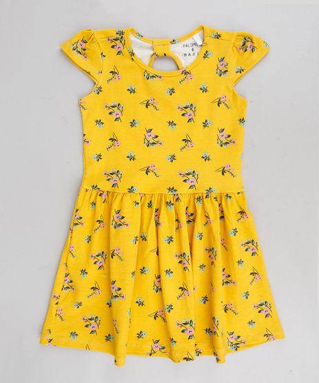Vestido-Infantil-Estampado-Floral-Manga-Curta-Decote-Redondo-Amarelo-9377090-Amarelo_1