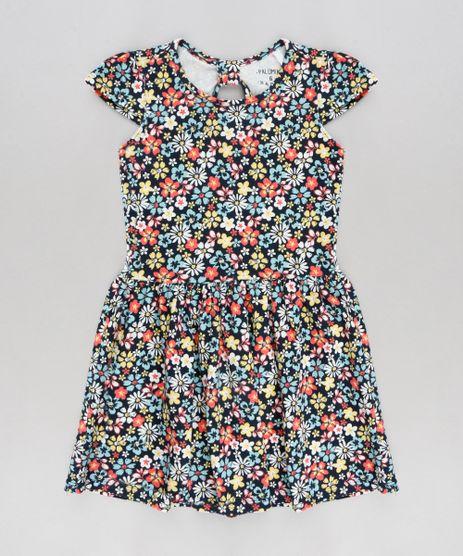 Vestido-Infantil-Estampado-Floral-Manga-Curta-Decote-Redondo-Azul-Marinho-9377089-Azul_Marinho_1