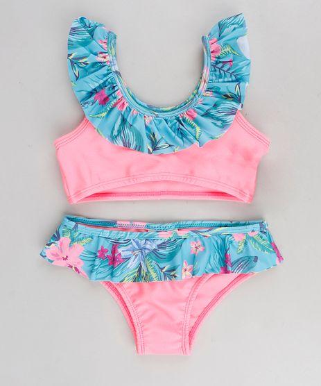Biquini-Infantil-com-Estampa-Floral-e-Protecao-UV50--Rosa-Neon-9280960-Rosa_Neon_1