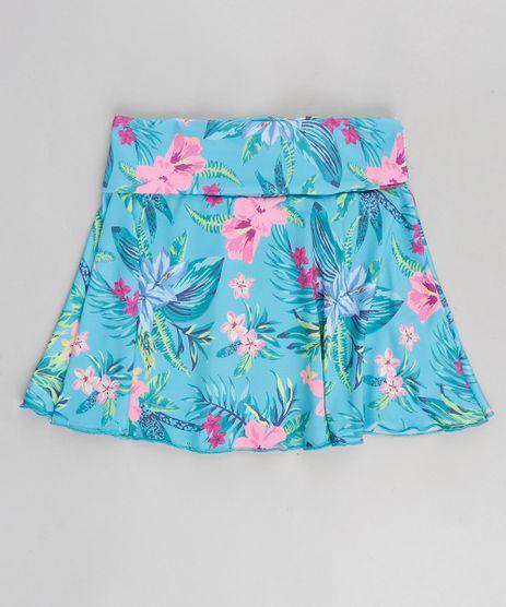 Saia-de-Praia-Infantil-com-Estampa-Floral-com-Protecao-UV50--Verde-Agua-9280963-Verde_Agua_1