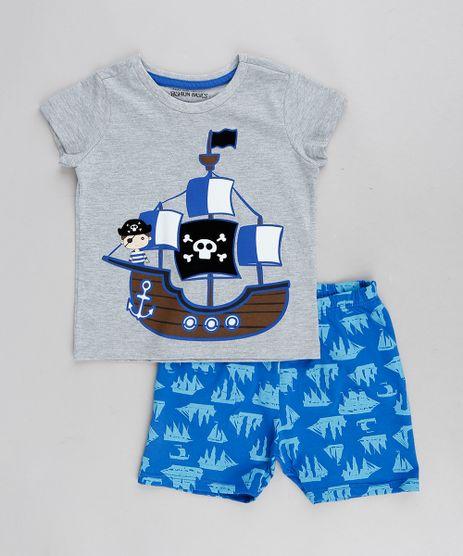 Pijama-Infantil-Pirata-Manga-Curta-Cinza-Mescla-9288239- 6c2815870ccc6