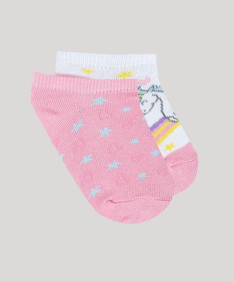 Kit-de-2-Meias-Infantis-Soquete-Estampadas-de-Unicornio-Multicor-9334696-Multicor_1
