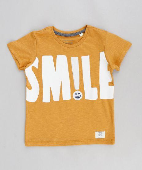 Camiseta-Infantil--Smile--com-Pelo-Manga-Curta-Gola-Careca-Mostarda-9302525-Mostarda_1