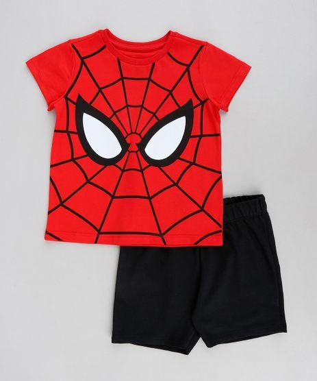 Conjunto-Infantil-Homem-Aranha-de-Camiseta-Manga-Curta-Vermelha---Bermuda-em-Moletom-Preto-9327257-Preto_1