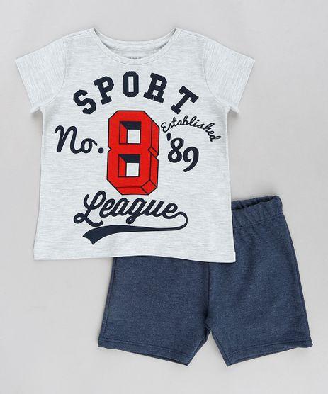 Conjunto-Infantil-de-Camiseta--Sport-League--Manga-Curta-Cinza-Mescla-Claro---Bermuda-em-Moletom-Azul-Marinho-9294988-Azul_Marinho_1