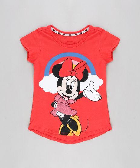 Blusa-Infantil-Minnie-com-Glitter-Manga-Curta-Decote-Redondo-Coral-9300982-Coral_1