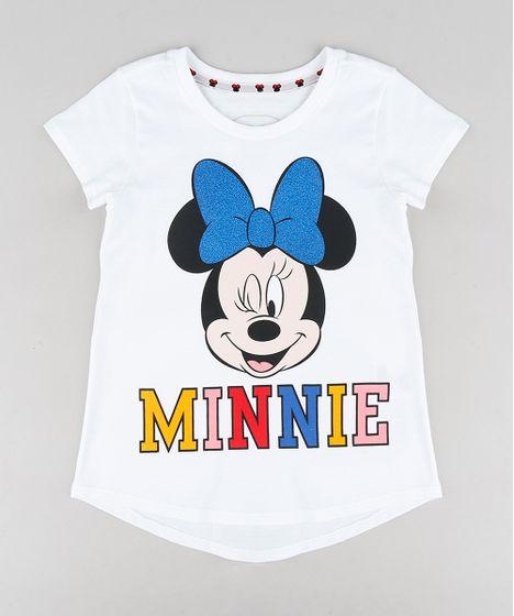 108cf02ee Blusa Infantil Minnie com Glitter Manga Curta Decote Redondo Branca ...