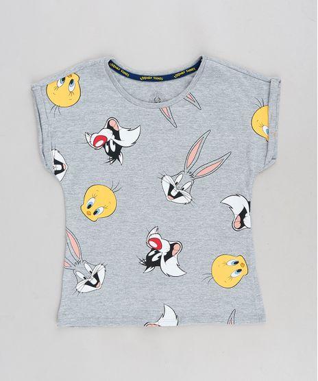 Blusa-Infantil-Looney-Tunes-Manga-Curta-Decote-Redondo-Cinza-Mescla-9301009-Cinza_Mescla_1