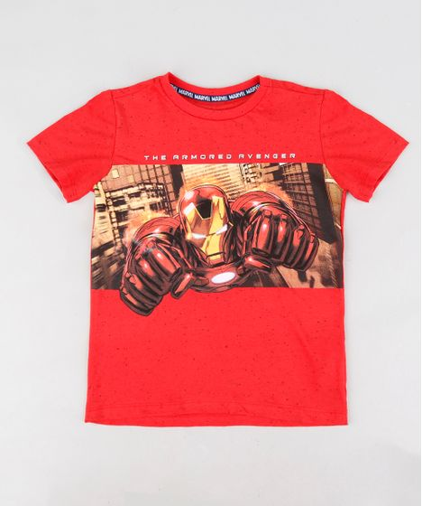 Camiseta Infantil Homem de Ferro Manga Curta Gola Careca Vermelha - cea 78fb7328c93ec