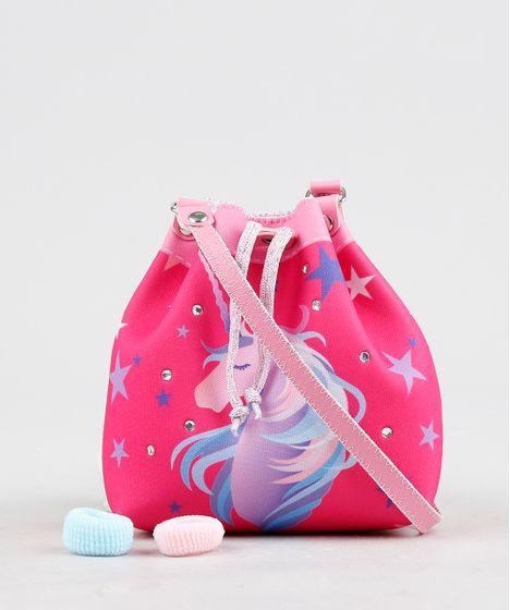 7b19fde63 Bolsa Infantil Estampada de Unicórnio + Elásticos de Cabelo Pink - cea