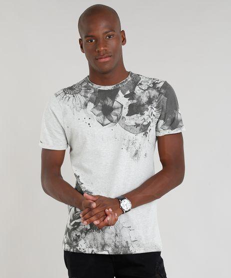 Camiseta-Masculina-Slim-Fit-com-Estampa-de-Flores-Manga-Curta-Gola-Careca-Cinza-Mescla-Claro-9310125-Cinza_Mescla_Claro_1