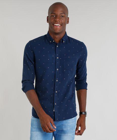 Camisa-Masculina-Slim-Estampada-Mini-Print-de-Folhas-com-Bolso-Manga-Longa-Azul-Marinho-9100384-Azul_Marinho_1