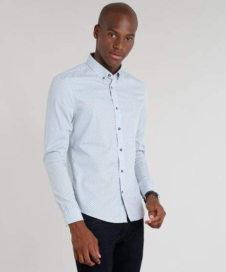 Camisa-Masculina-Slim-Estampada-Mini-Print-Manga-Longa-Azul-Claro-9167870-Azul_Claro_1