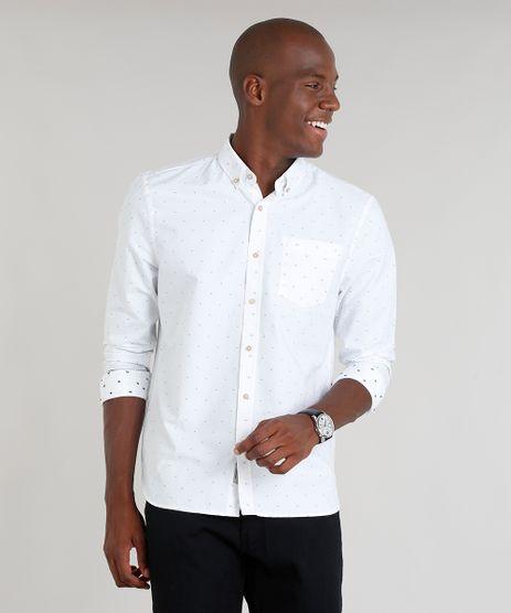 Camisa-Masculina-Comfort-Mini-Print-com-Bolso-Manga-Longa-Branca-9100383-Branco_1
