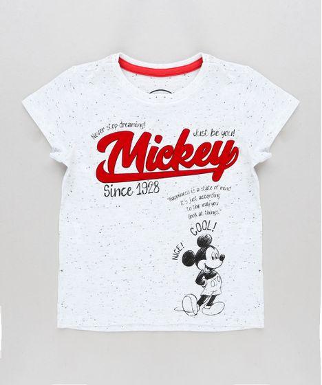 Camiseta Infantil Mickey Manga Curta Gola Careca Off White - cea 867d25140ffac