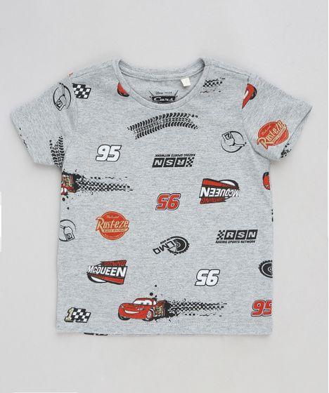Camiseta Infantil Estampada Carros Manga Curta Gola Careca Cinza ... c89ef92513f
