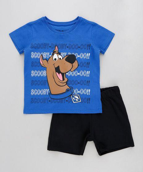 Conjunto-Infantil-Scooby-Doo-de-Camiseta-Manga-Curta-Azul-Royal---Bermuda-em-Moletom-Preta-9293798-Preto_1