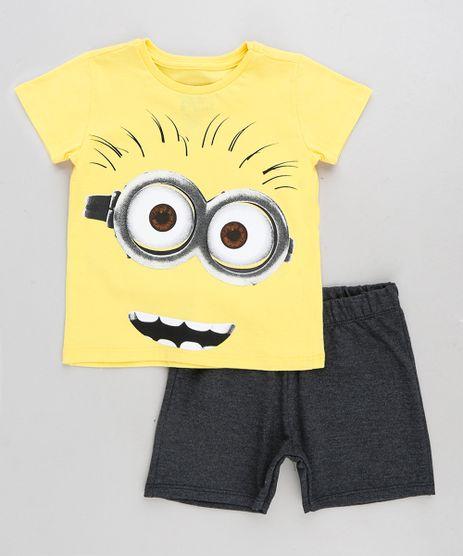 Conjunto-Infantil-Minions-de-Camiseta-Manga-Curta-Amarela---Bermuda-em-Moletom-Cinza-Mescla-Escuro-9293656-Cinza_Mescla_Escuro_1