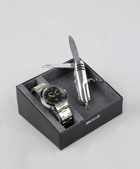 Kit-de-Relogio-Analogico-Seculus-Masculino---Canivete---28964GPSVBA1K-Prateado-9364358-Prateado_1