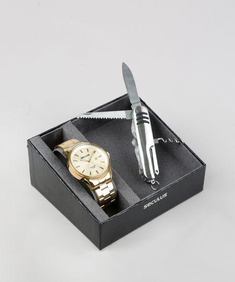 Kit-de-Relogio-Analogico-Seculus-Masculino---Canivete---28934GPSVDA1K-Dourado-9364355-Dourado_1