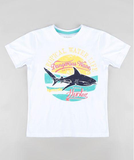 e3263206eb1e0d Camiseta Infantil Tubarão Manga Curta Gola Careca Branca - cea