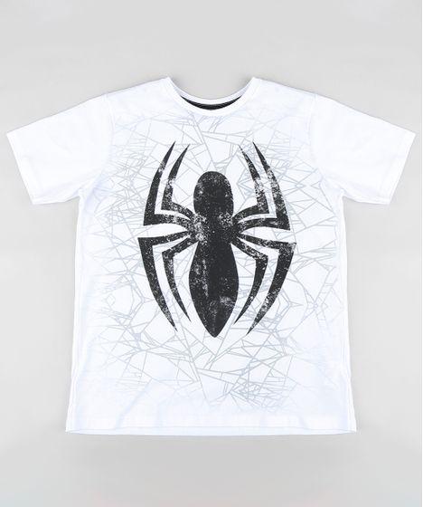 b76d51e52 Camiseta Infantil Homem Aranha Manga Curta Gola Careca Branca - cea