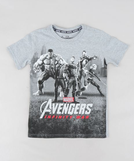 Camiseta-Infantil-Os-Vingadores-Guerra-Infinita-Manga-Curta-Gola-Careca-Cinza-Mescla-9300843-Cinza_Mescla_1