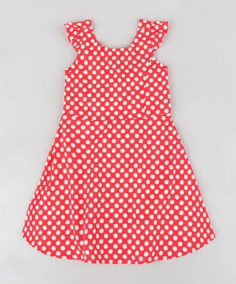 Vestido-infantil-Estampado-de-Margaridas-com-Laco-Sem-Manga-Vermelho-9321282-Vermelho_1
