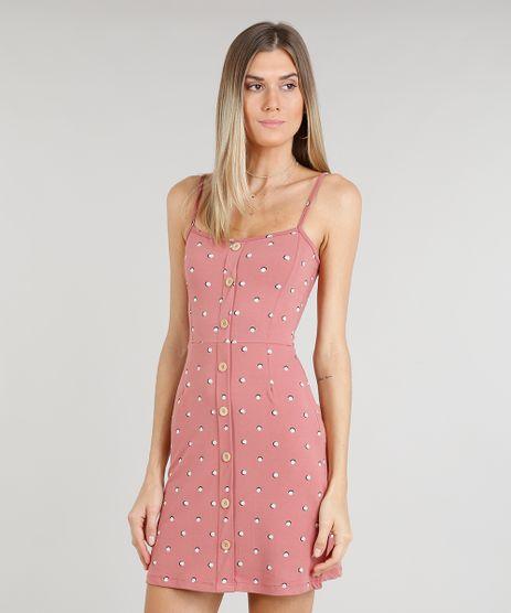 Vestido-Feminino-Curto-Estampado-de-Poas-com-Botoes- 85eb299bfc362