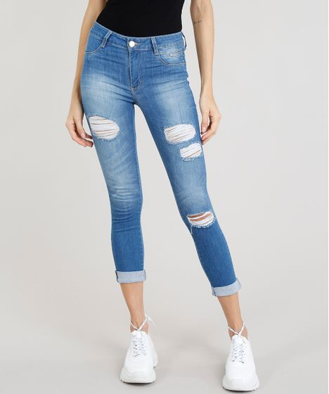 b53c27d75a Calça Jeans Feminina Cropped Sawary Destroyed Azul Médio - cea