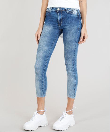 c0204107a Calça Jeans Feminina Cropped Sawary com Barra a Fio Azul Médio - cea