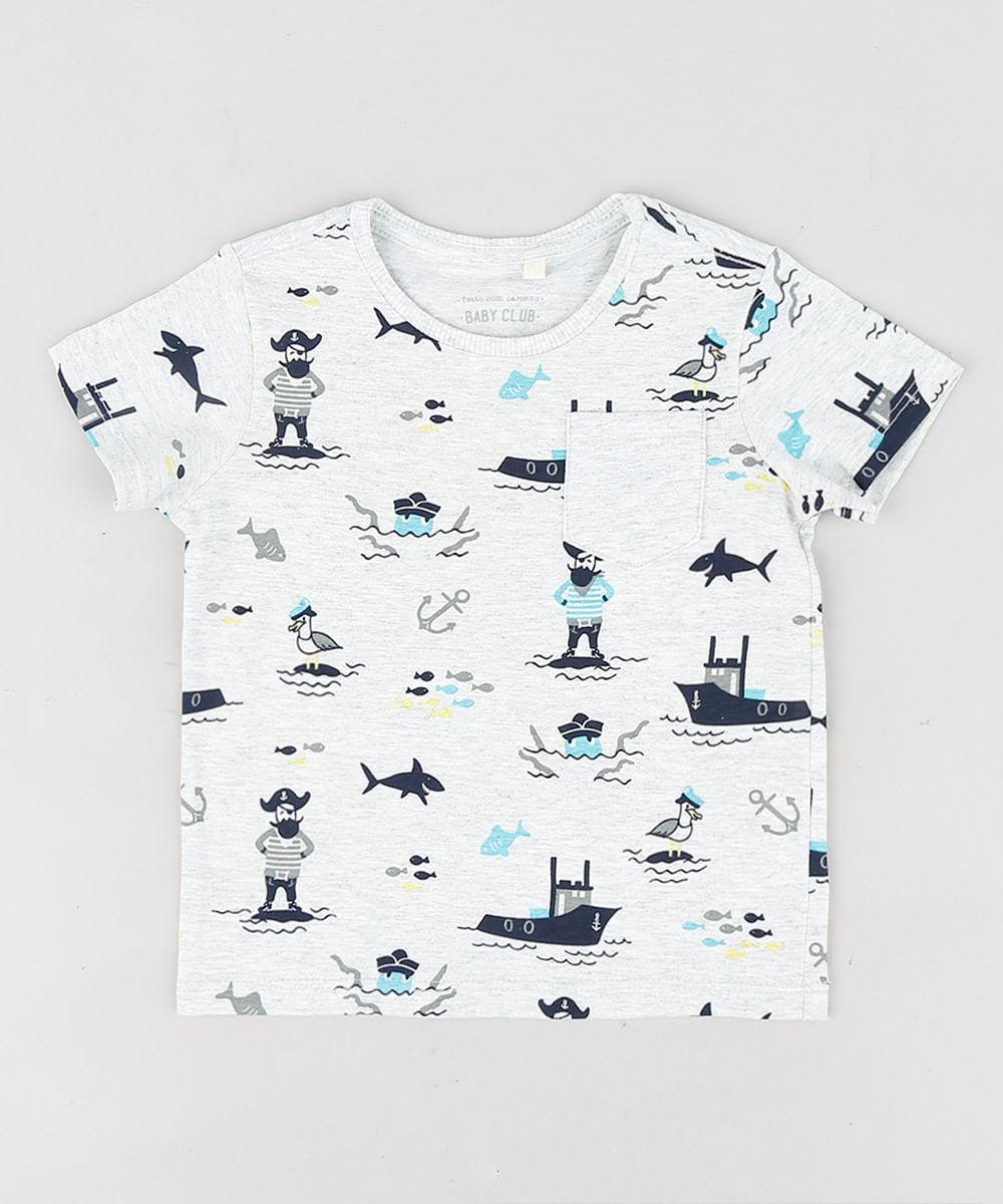 8466582e57e8a2 Camiseta Infantil Estampada de Piratas Manga Curta Gola Careca Cinza ...