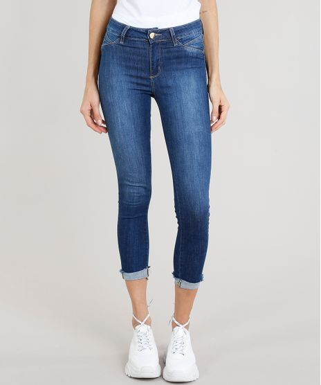 Calca-Jeans-Feminina-Cropped-Sawary-com-Barra-Dobrada-Azul-Escuro-9329154-Azul_Escuro_1