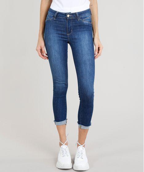 b662cb522 Calça Jeans Feminina Cropped Sawary com Barra Dobrada Azul Escuro - cea