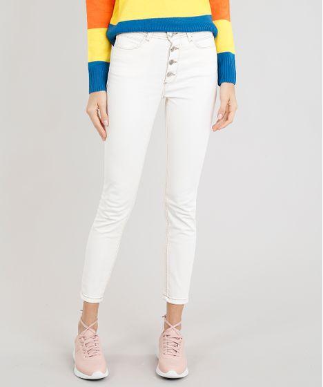 7a9591739 Calça Jeans Feminina Skinny com Botões Off White - cea