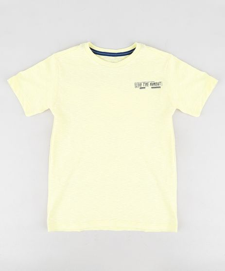 Camiseta-Infantil-com-Estampa-de-Praia-Manga-Curta-Gola-Careca-Amarela-9347696-Amarelo_1