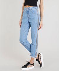 7b3f6a5f6 Calça Jeans Feminina Mom Pants com Faixa Lateral Azul Claro ...