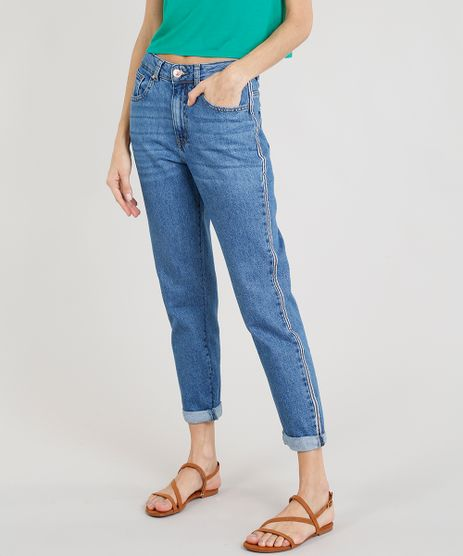 Calca-Jeans-Feminina-Mom-Pants-com-Faixa-Lateral-Azul-Medio-9273117-Azul_Medio_1