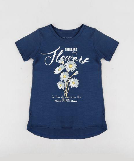 Blusa-Infantil--Flowers--com-Glitter-Manga-Curta-Decote-Redondo-Azul-Marinho-9301014-Azul_Marinho_1
