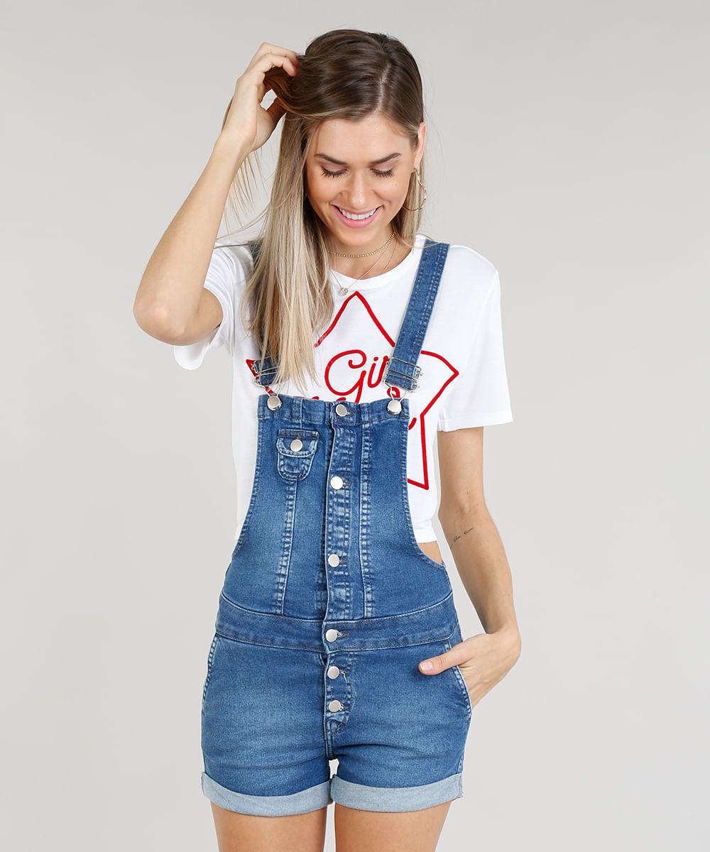 40e1a298f ... Jardineira-Jeans-Feminina-com-Botoes-Azul-Medio-9348137-