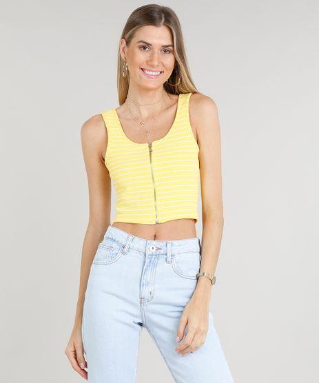Regata-Feminina-Cropped-Listrada-com-Ziper-Decote-Redondo-Amarela-9295515-Amarelo_1