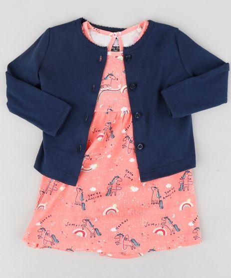 Conjunto-Infantil-de-Body-Vestido-Estampado-de-Unicornios-Coral---Cardigan-Azul-Marinho-9114252-Azul_Marinho_1